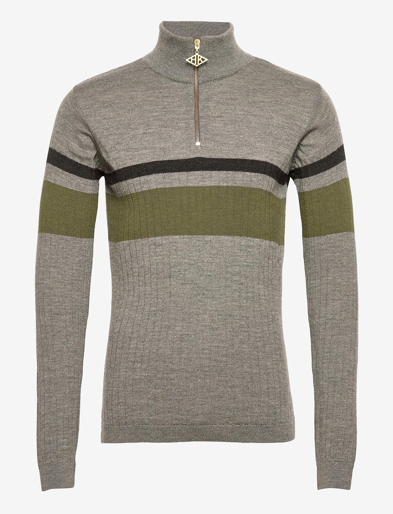 HAN Kjøbenhavn - Half Zip Long Sleeve - truien met halve rits - grey - 0