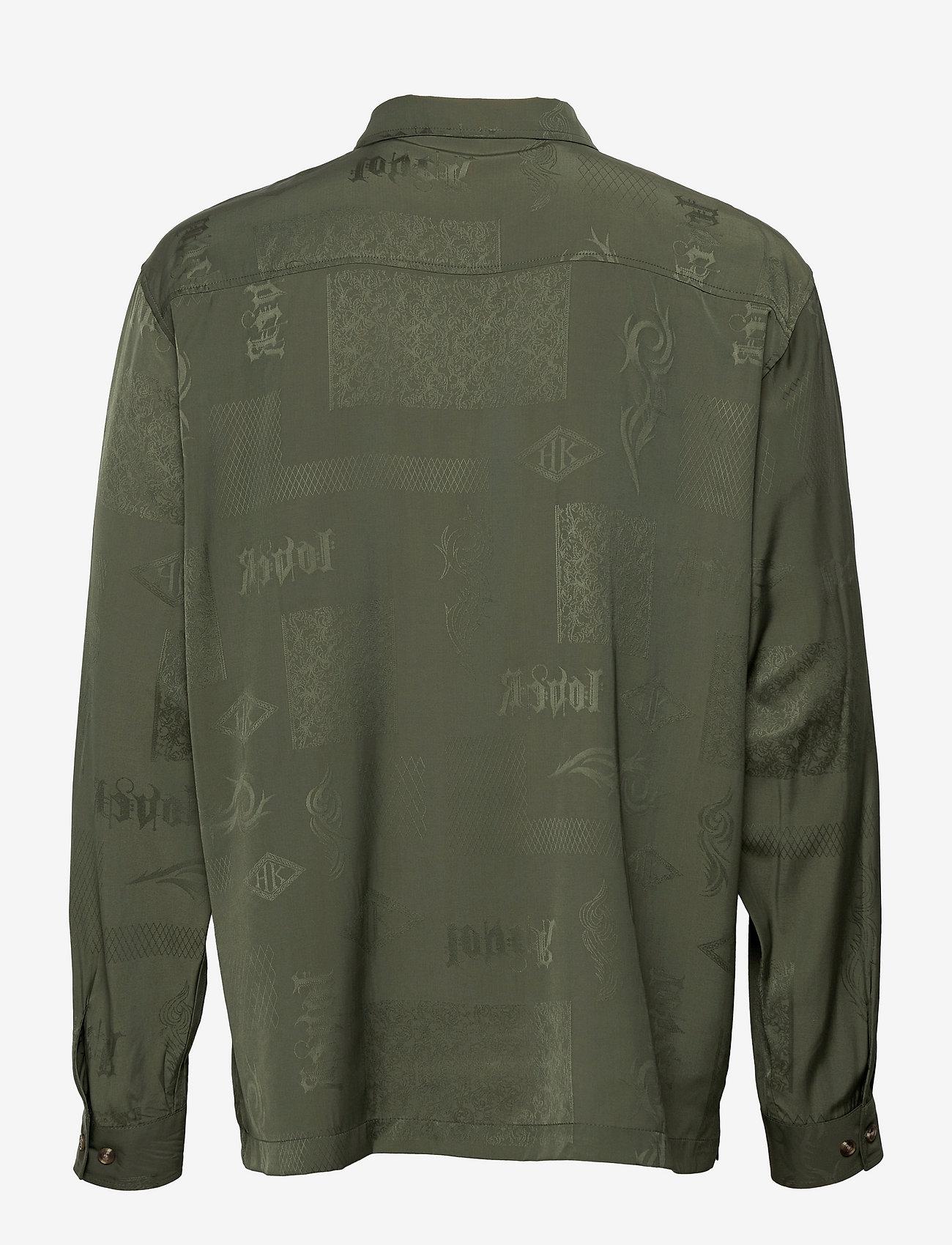 HAN Kjøbenhavn - Boxy Shirt Long Sleeve - casual overhemden - green tribal - 1
