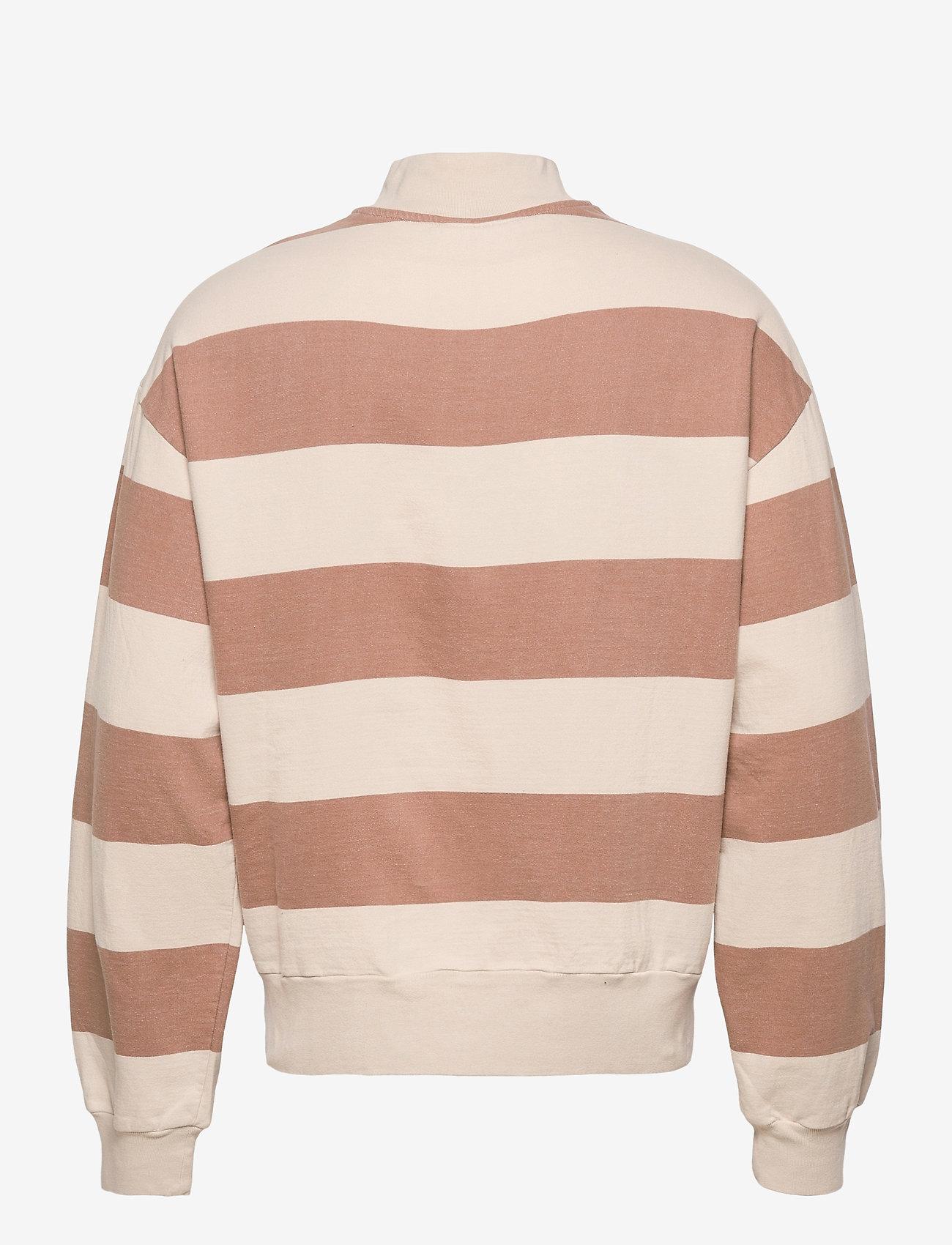 HAN Kjøbenhavn - Half Zip Sweat - truien - off white stripe - 1