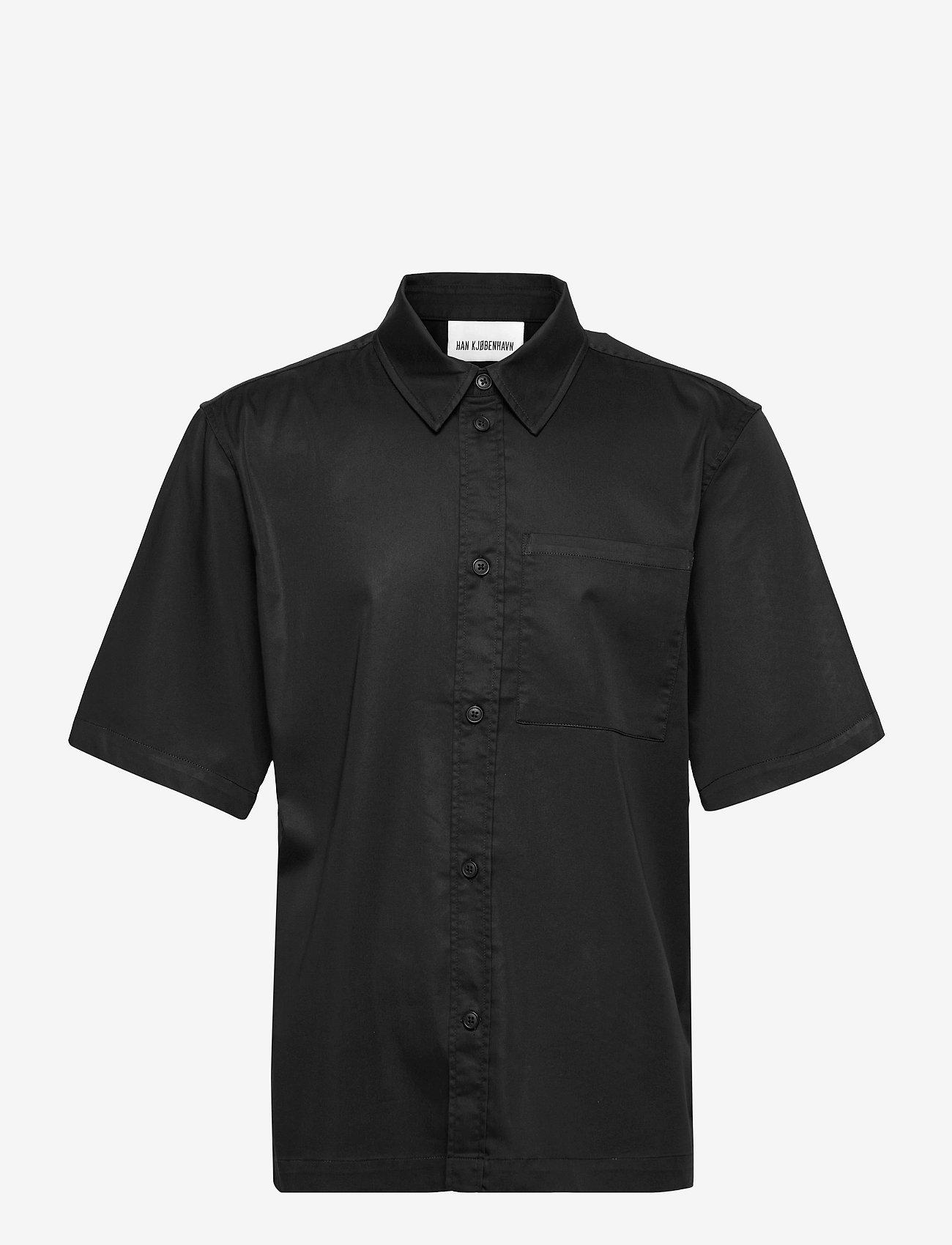 HAN Kjøbenhavn - Boxy Shirt SS - oxford overhemden - black - 1