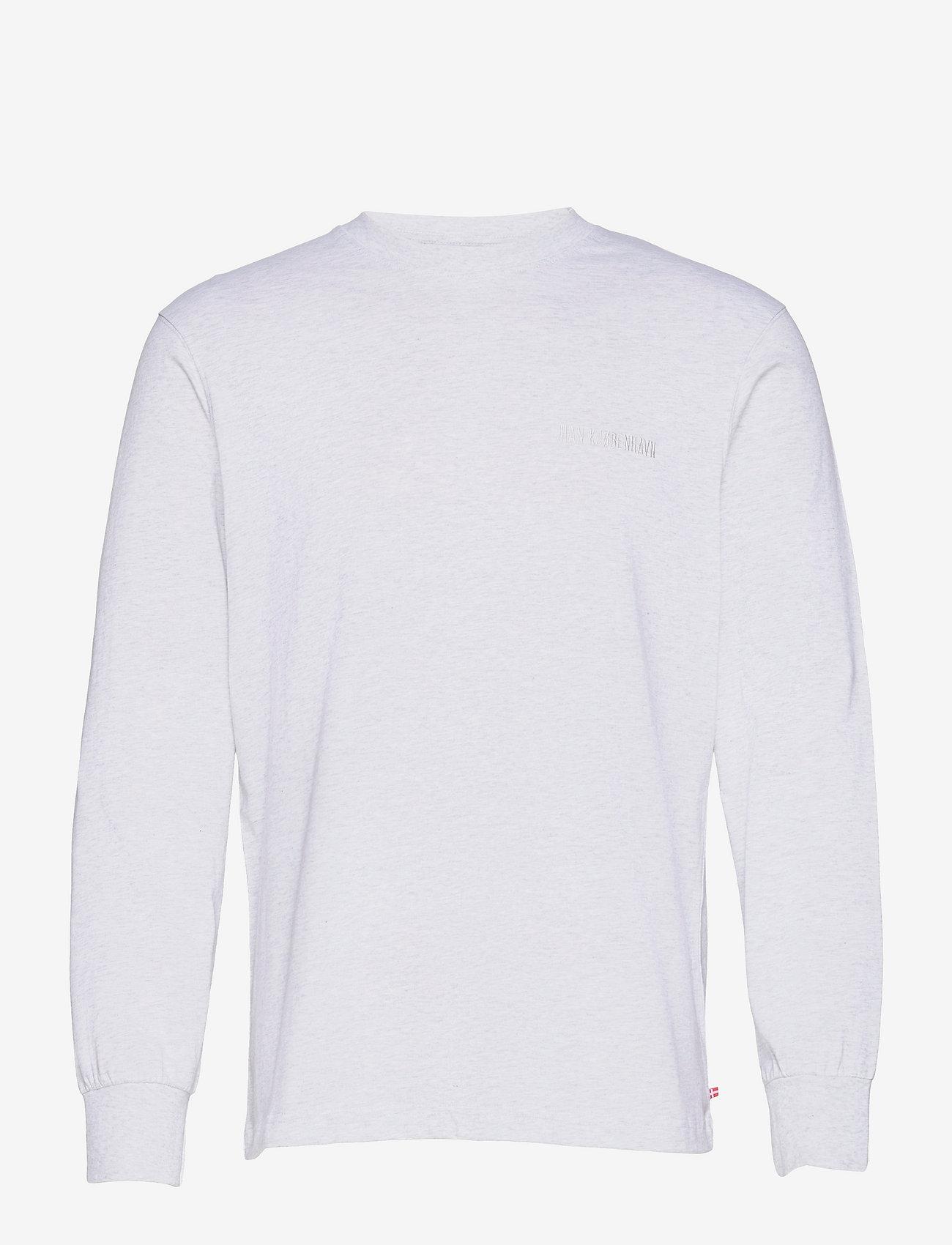 HAN Kjøbenhavn - Casual Tee Long Sleeve - basic t-shirts - light grey melange logo - 0