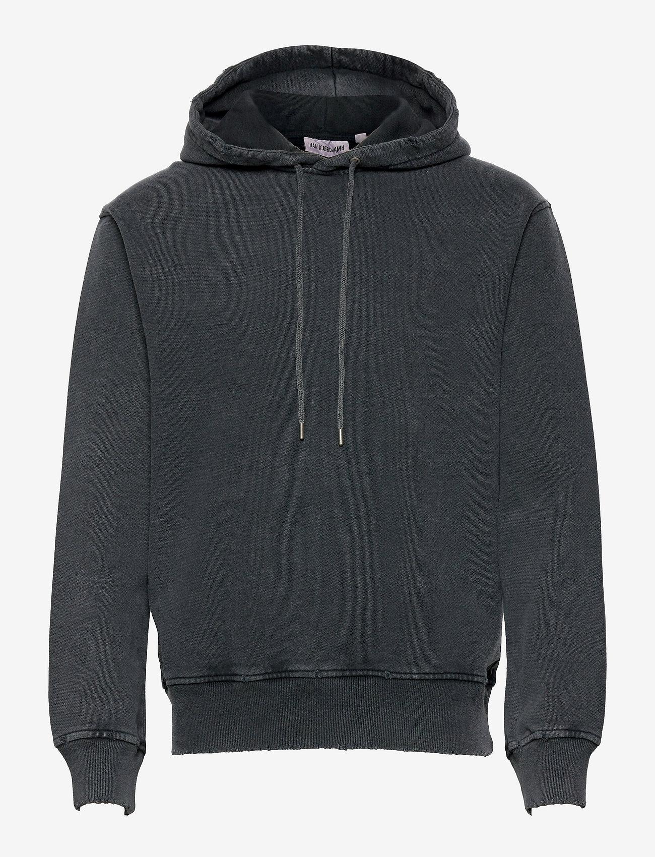 HAN Kjøbenhavn - Distressed Hoodie - hoodies - distressed dark grey - 0