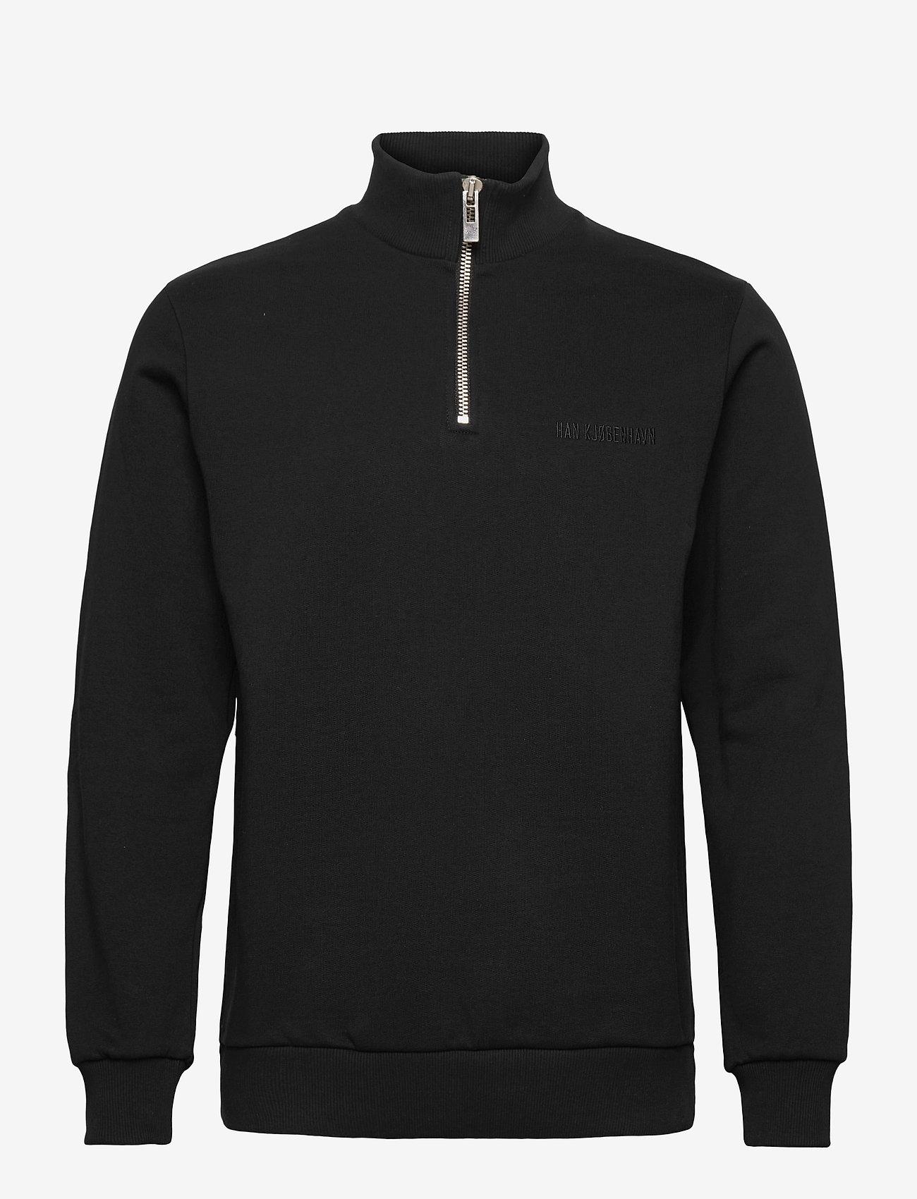 HAN Kjøbenhavn - Half Zip Sweat - basic sweatshirts - black logo - 0