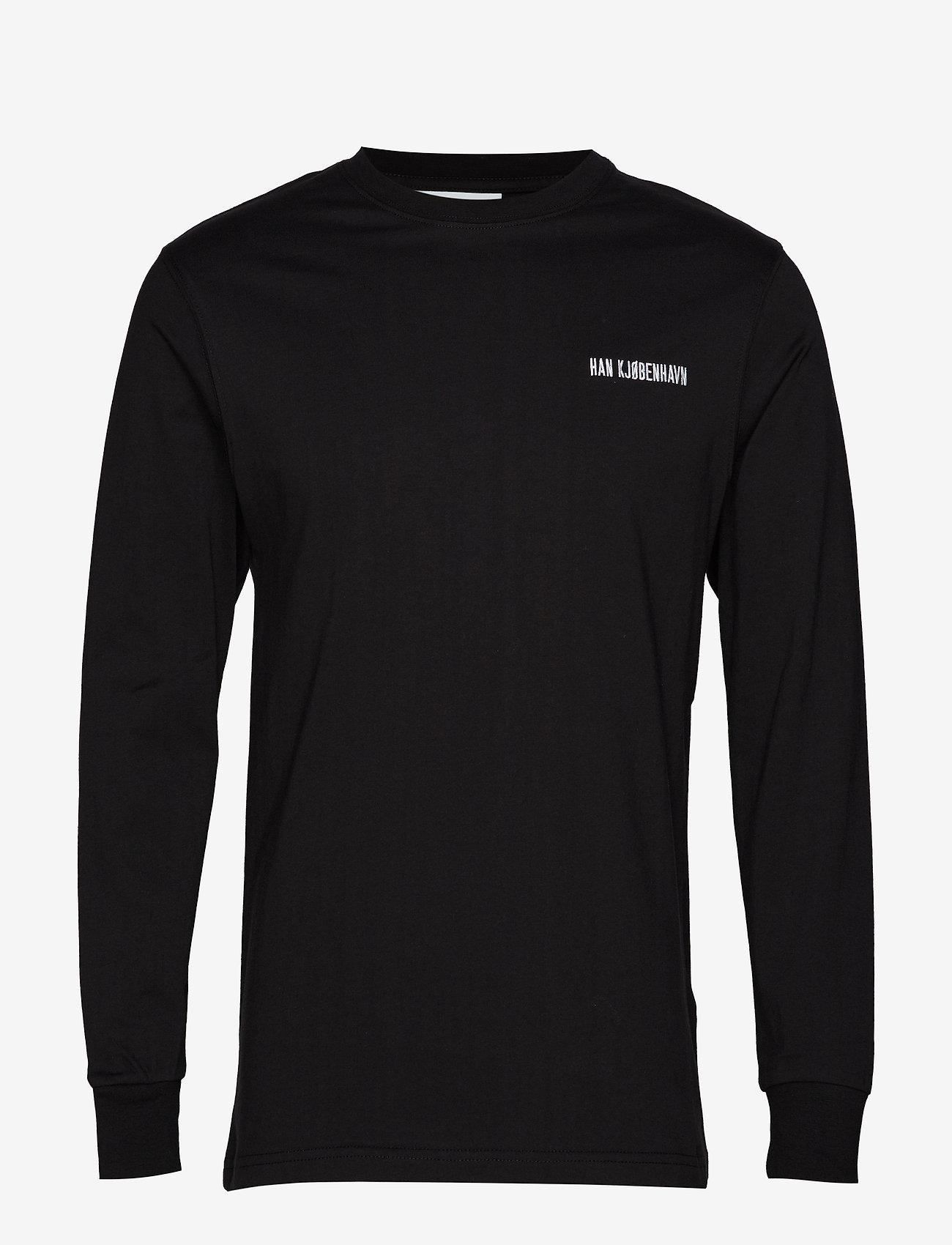 HAN Kjøbenhavn - Casual Long Sleeve Tee - basic t-shirts - black logo - 1