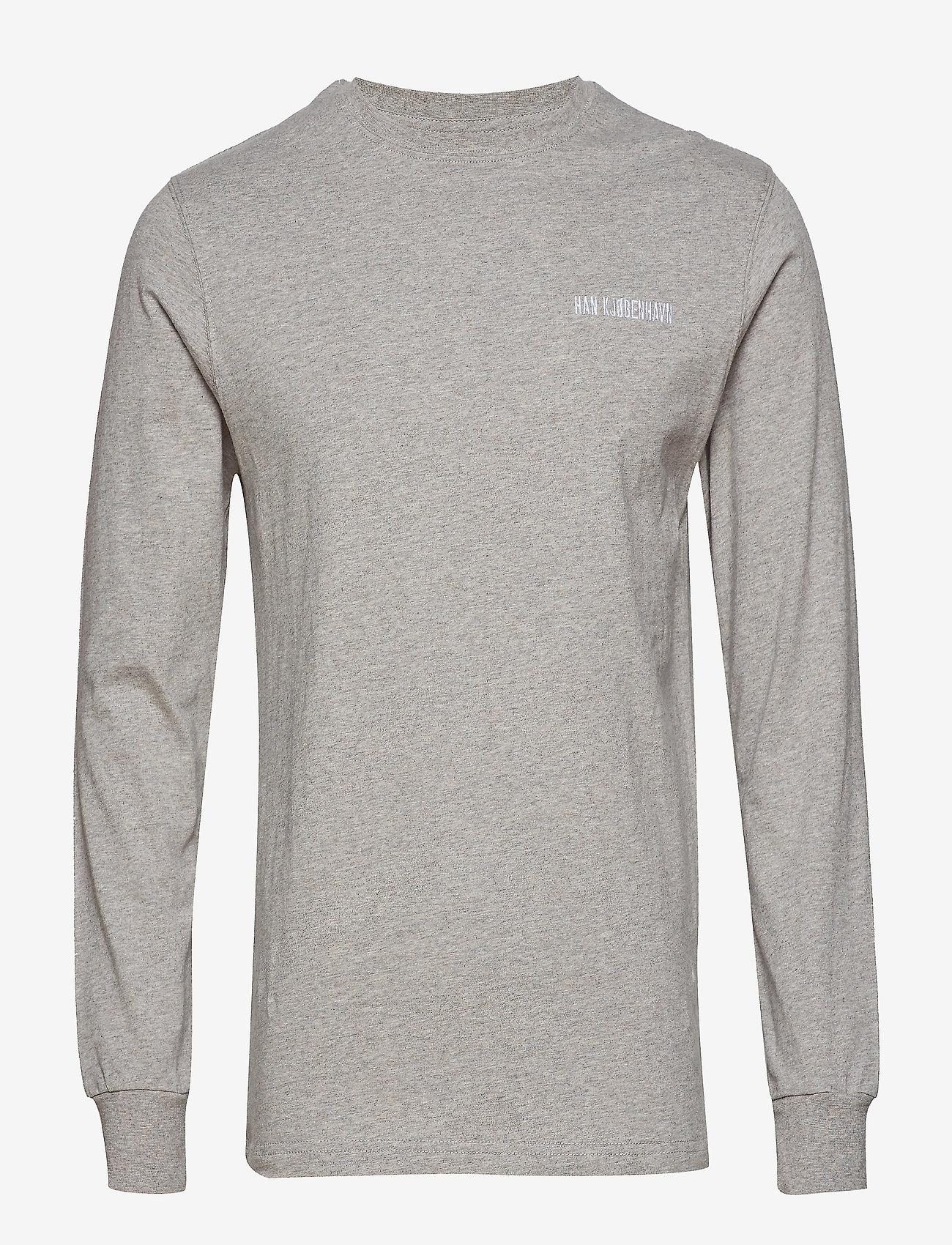 HAN Kjøbenhavn - Casual Long Sleeve Tee - basic t-shirts - grey logo - 1