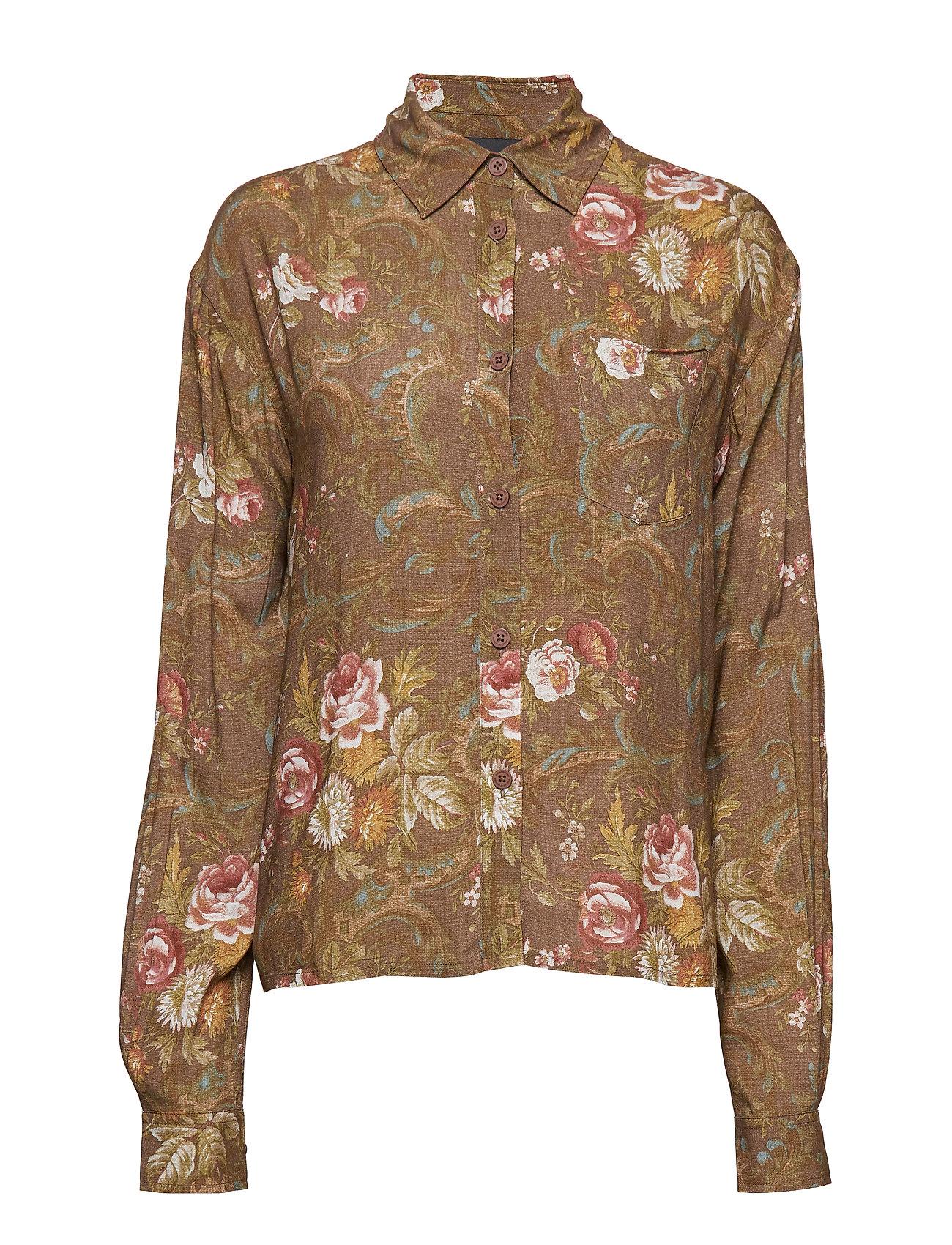 HAN Kjøbenhavn Box Shirt - BROWN FLOWERS