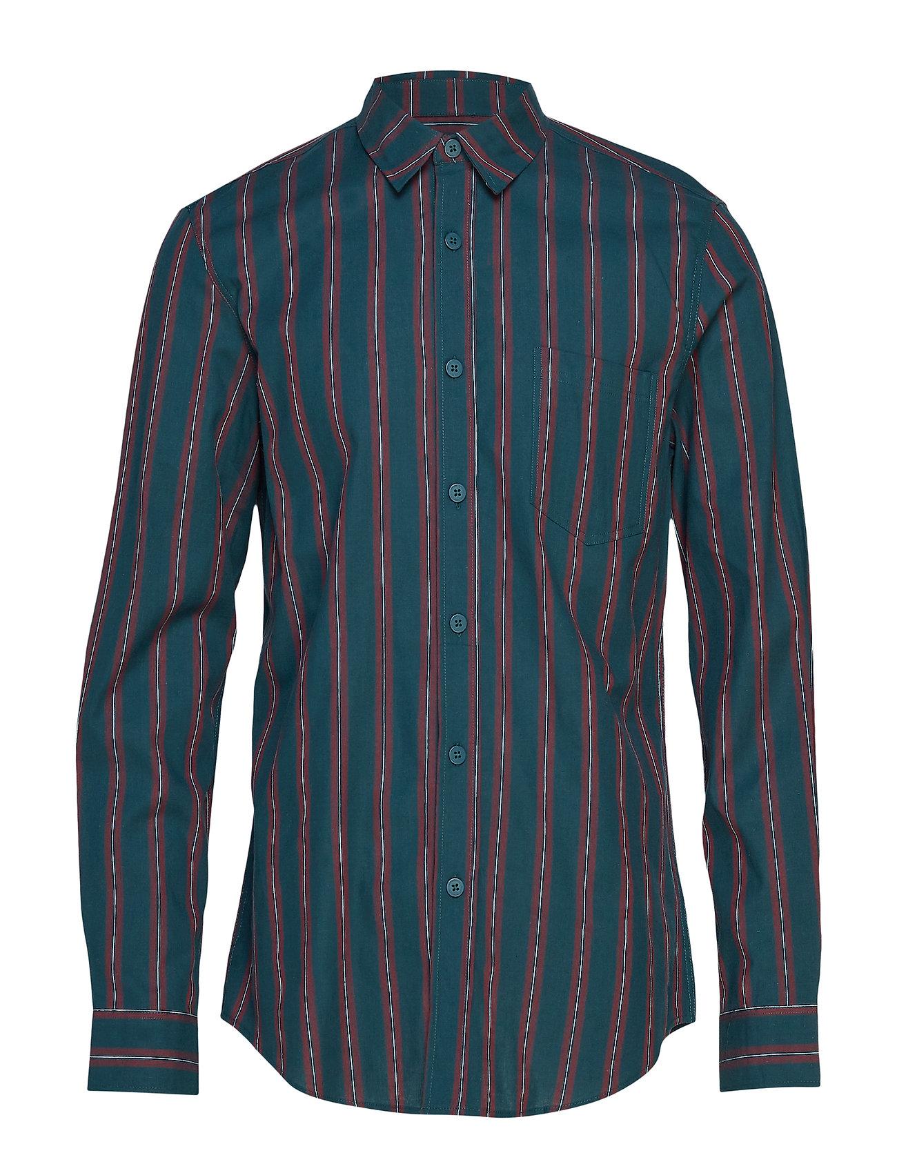 HAN Kjøbenhavn One Pocket Shirt - GREEN STRIPE