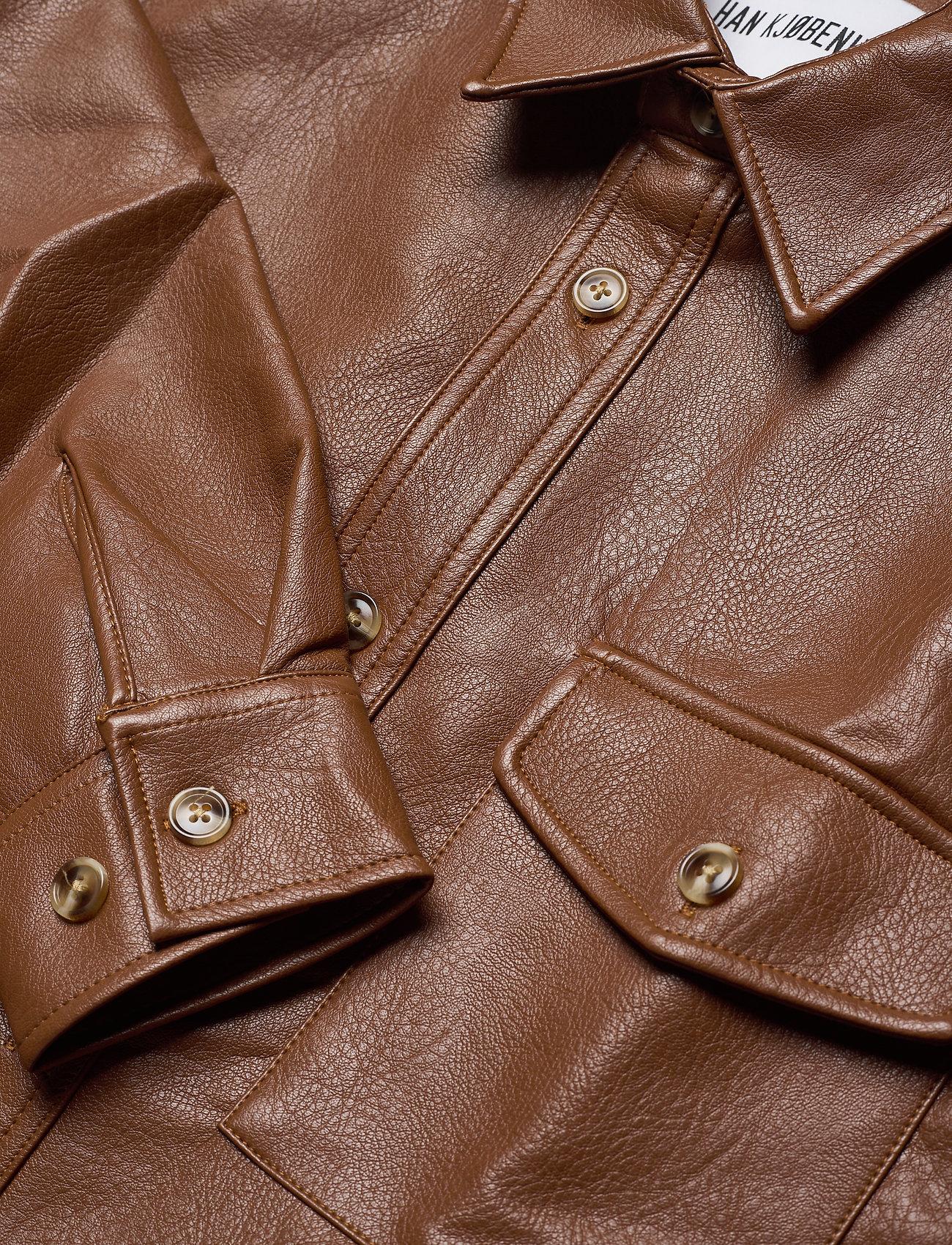 HAN Kjøbenhavn - Army Shirt - tops - brown faux leather - 3