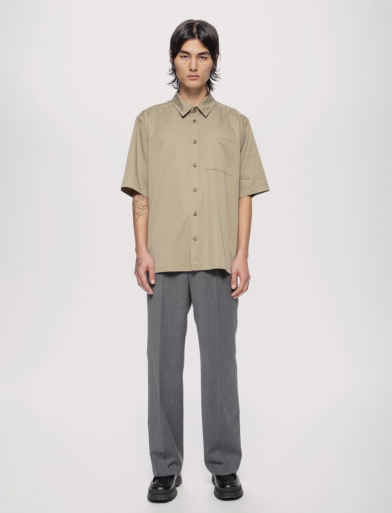 HAN Kjøbenhavn - Boxy Shirt SS - oxford overhemden - olive grey - 0