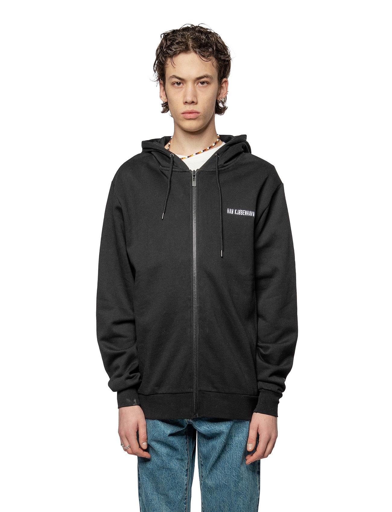 HAN Kjøbenhavn - Zip Hoodie - hoodies - black logo - 0