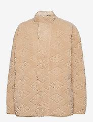 HAN Kjøbenhavn - Track Fleece - mid layer jackets - sand logo - 0