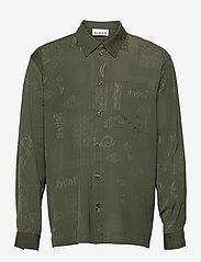 HAN Kjøbenhavn - Boxy Shirt Long Sleeve - casual overhemden - green tribal - 0