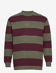 HAN Kjøbenhavn - Boxy Tee Long Sleeve - truien - burgundy stripe - 1