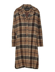 Boxy Coat - BROWN TWEED