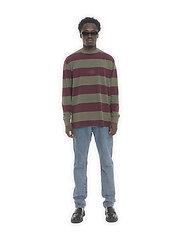 HAN Kjøbenhavn - Boxy Tee Long Sleeve - truien - burgundy stripe - 0