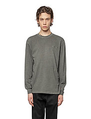 HAN Kjøbenhavn - Casual Long Sleeve Tee - basic t-shirts - dark grey logo - 0