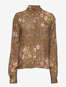 Box Shirt - långärmade blusar - brown flowers