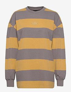 Boxy LS Tee - sweaters - faded tan stripe