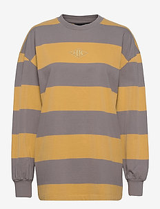 Boxy LS Tee - sweatshirts - faded tan stripe