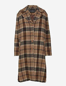 Boxy Coat - ullkappor - brown tweed