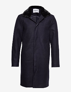 Winters Trench - ullrockar - navy wool