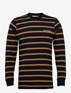 Casual Long Sleeve Tee - langærmede t-shirts - blue stripe