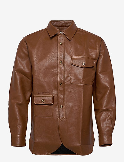 Army Shirt - tops - brown faux leather