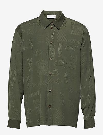 Boxy Shirt Long Sleeve - casual skjortor - green tribal
