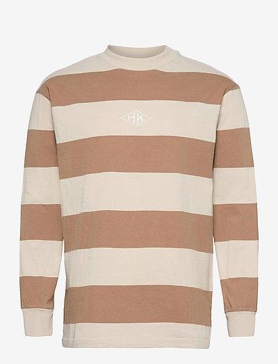 Boxy Tee Long Sleeve - lange mouwen - off white stripe