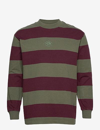 Boxy Tee Long Sleeve - truien - burgundy stripe