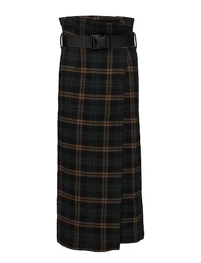 Buckle Skirt - GREEN CHESS