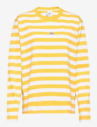 Hanger Striped Longsleeve - langærmede t-shirts - yellow white 0851