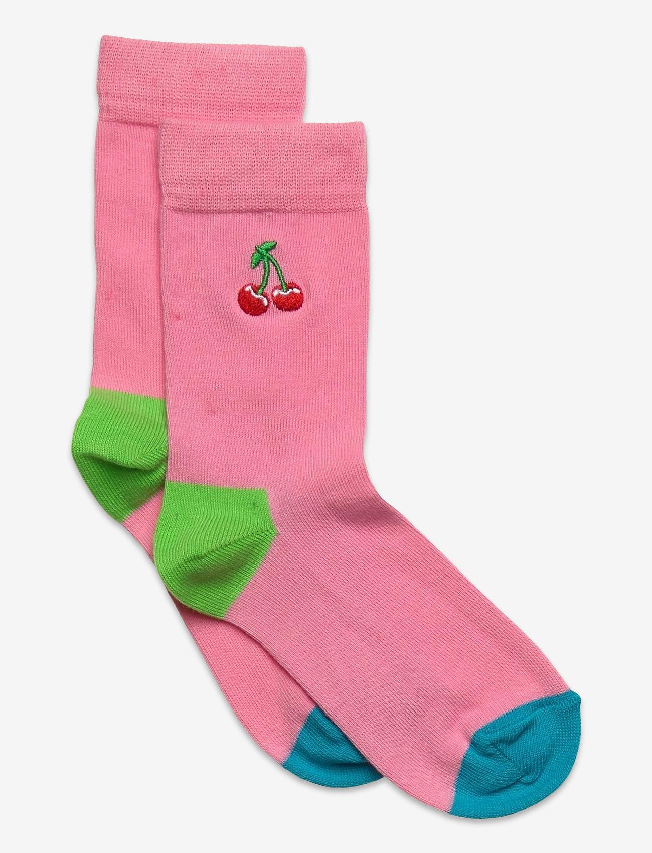 Happy Socks - Kids Cherry Embroidery Sock - skarpetki - medium pink - 0