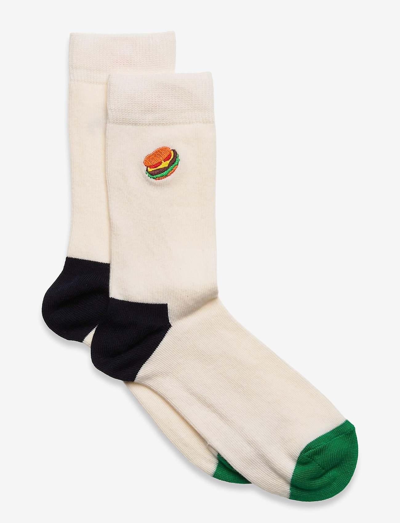 Happy Socks - Kids Hamburger Embroidery Sock - skarpetki - white - 0