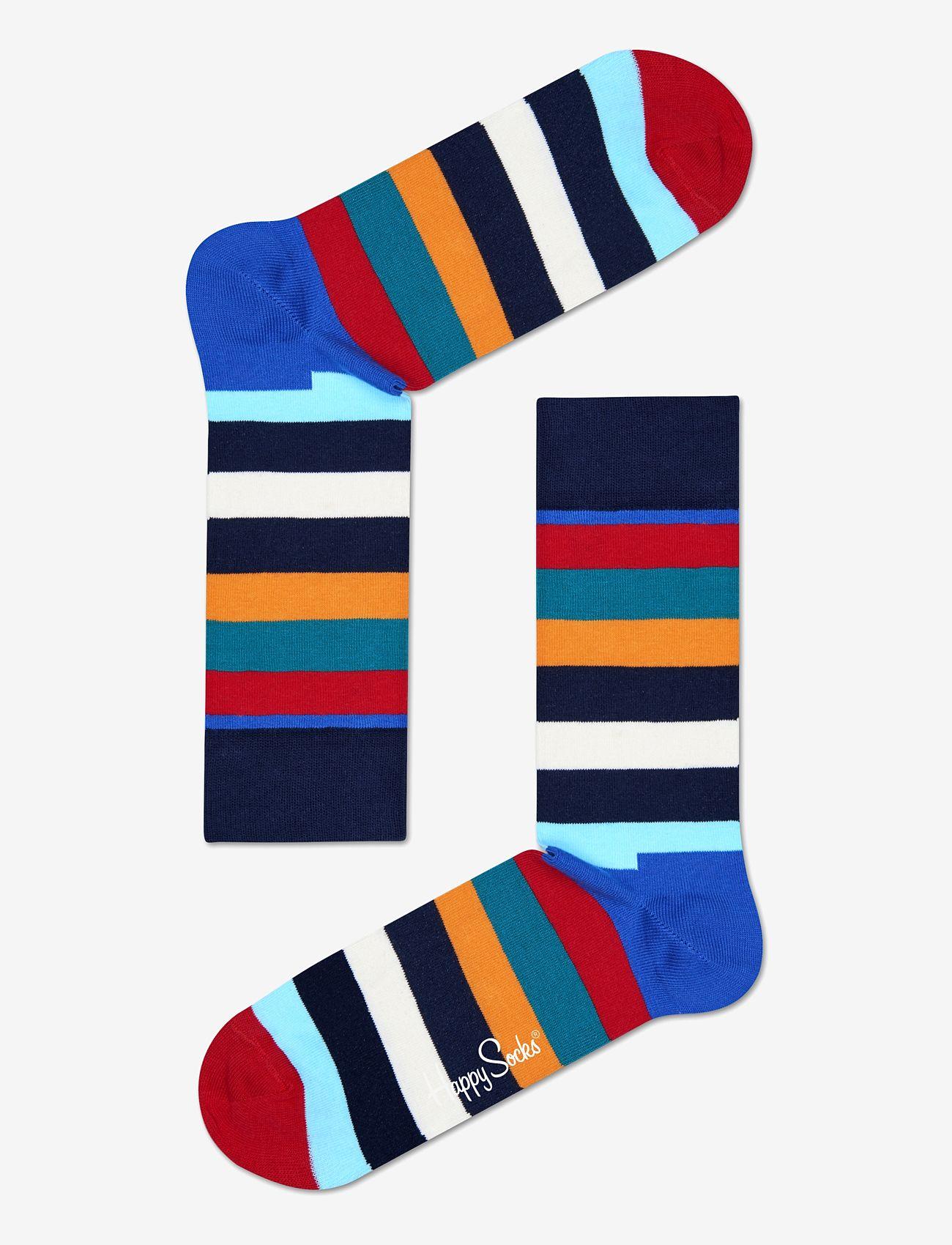 Happy Socks - Stripe Sock - crew zeķes - blue/red/orange - 0