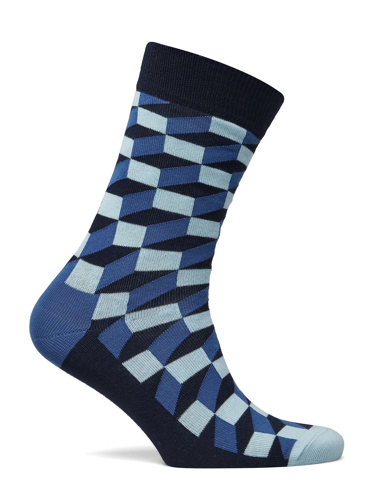 Yellow BNWT Happy Socks NEW Unisex Filled Optic Socks Blue