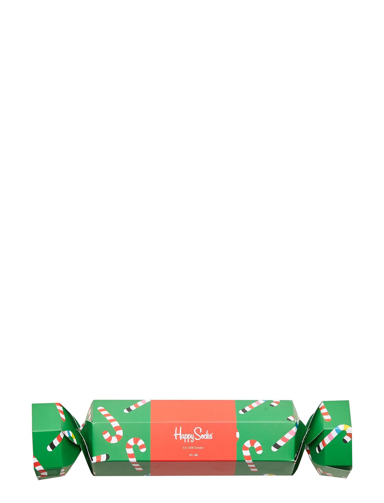 Happy Socks Christmas Cracker Candy Cane Gift Box - GREEN