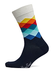 Faded Diamond Sock - WHITE