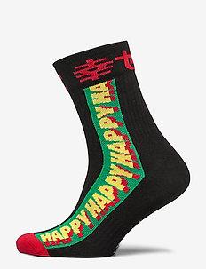 Athletic Happy 3/4 Crew Sock - BLACK