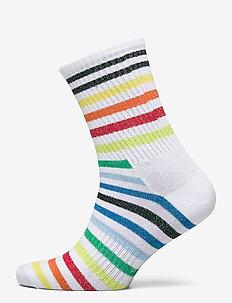 Athletic Striped 3/4 Crew Sock - WHITE