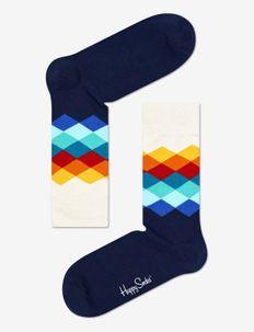 Faded Diamond Sock - reguläre strümpfe - white