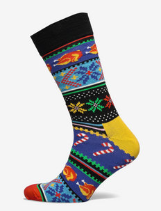 Happy Holiday Sock - skarpety crew - medium blue