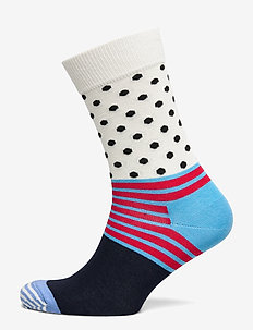 Stripe And Dot Sock - BLUE