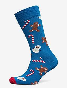 Gingerbread & Snowman Sock - ankelstrumpor - navy