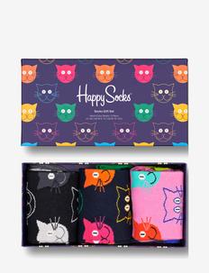 3-Pack Mixed Cat Socks Gift Set - skarpety crew - multi