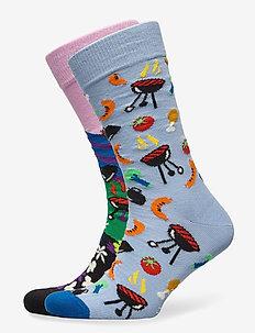 2-Pack Summer BBQ Socks Gift Set - normalne skarpetki - multi