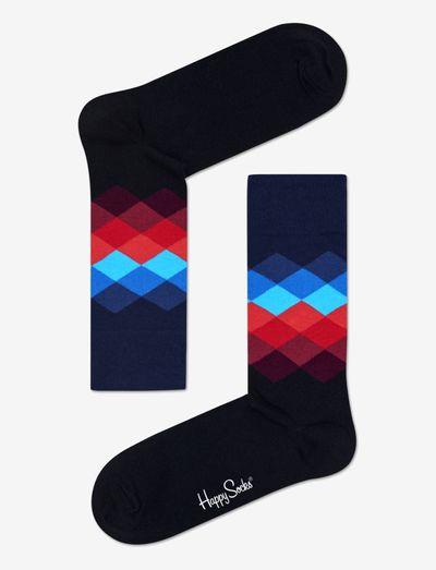 Faded Diamond Sock 1-pack - skarpety crew - black