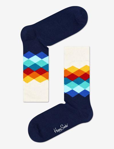 Faded Diamond Sock - skarpety crew - white