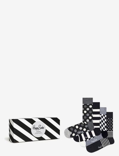 4-Pack Classic Black & White Socks Gift Set - skarpety crew - black