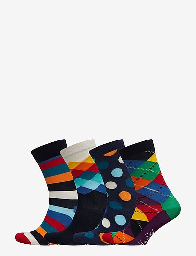 4-Pack Multi-color Socks Gift Set - skarpety crew - blue